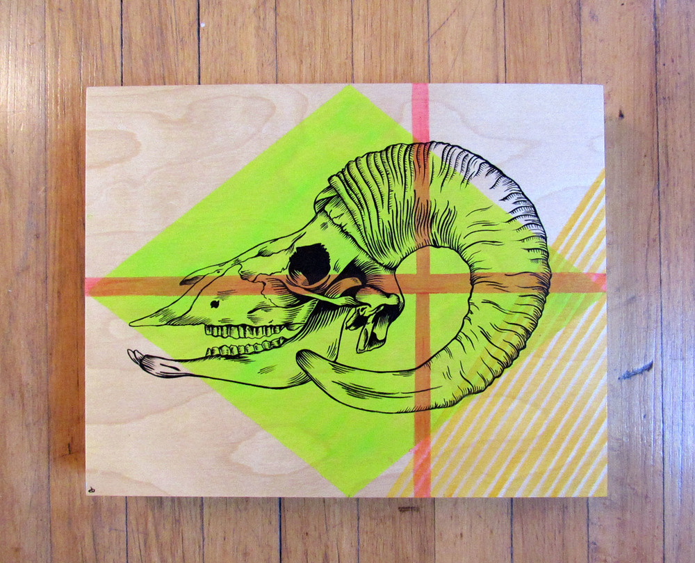 "11x14"" Ram skull on birch wood panel"