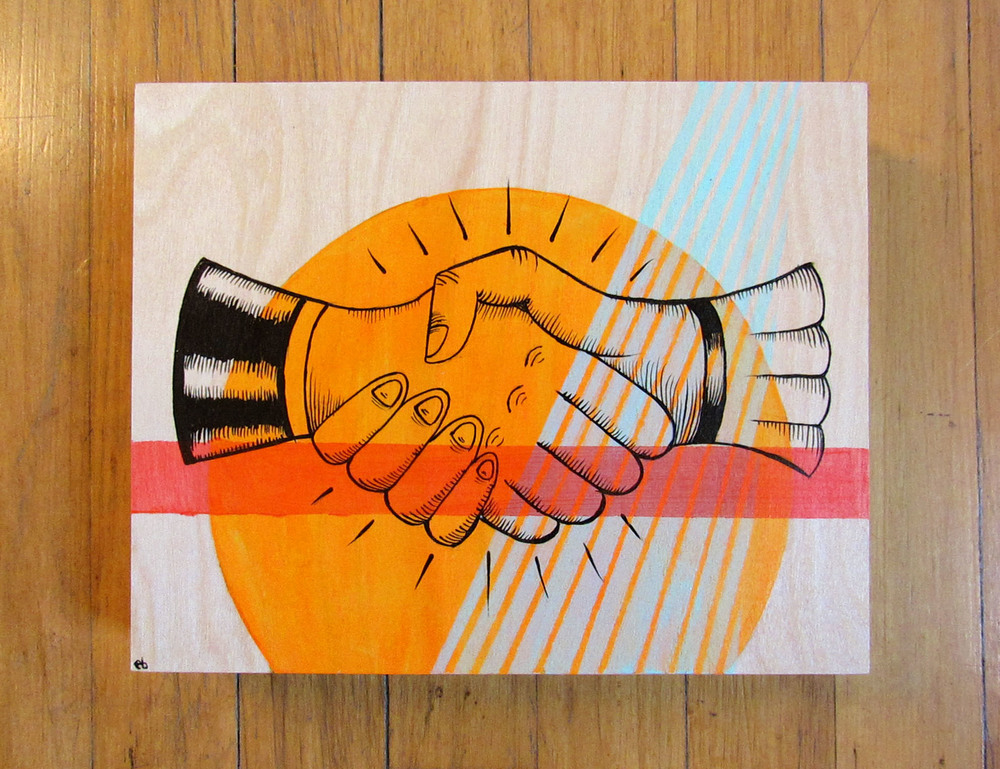 "8x10"" Handshake on birch wood panel"