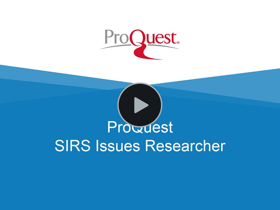 SIRS Issues Researcher Full Training link above (59 min.)