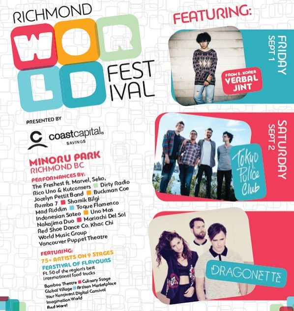 @richmondworldfest is back! 🎉Join us Sept 1 & 2 as we celebrate cultural diversity! This year we welcome @wearetokyopoliceclub, South Korea's @verbal_jint, @dragonette + over 75 artists on 9 stages! 🎉 Full details on the official website!