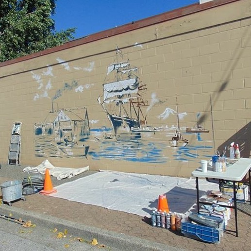 👀🎨Watch art being created right before your eyes! Over the next few days artists Dean & Christina Lauze will be painting a large scale version of the Arrival of the S.V. Titania on the exterior of the #StevestonHotel. Check back for more updates! . . . #richmondbc #richmondbcart #richmondbcartists #stevestonbc #stevestonvillage #Stevenston #mural #stevestonmural #localart #howartworks
