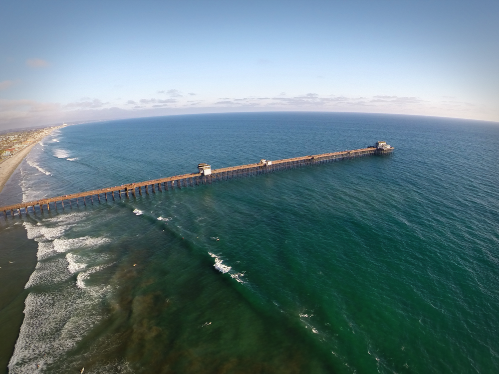 The historical Oceanside Pier is one of the longest wooden piers on the West Coast - 1,942 feet