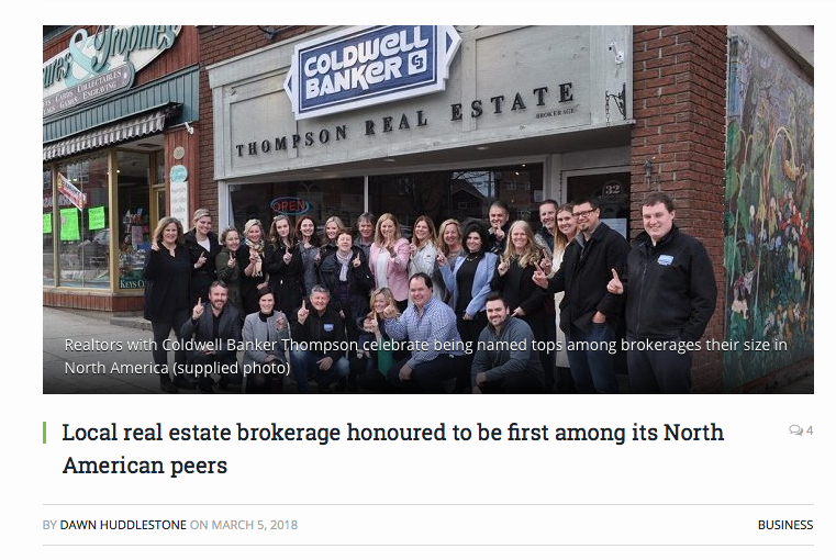 Coldwell Banker Thompson Real Estate Brokerage had a party last week to celebrate the news that they were first in North America for Coldwell Banker offices their size in North America last year. They bested more than 400 other offices to get there.   READ MORE AT THE DOPPLER