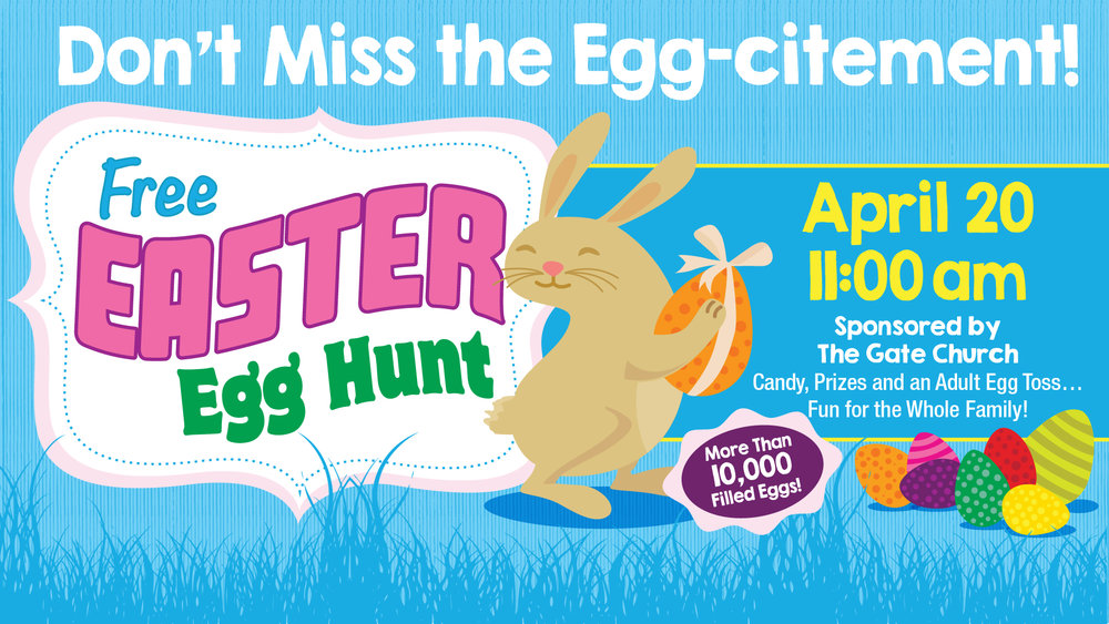EASTER EGG HUNT - April 20 @ 11a // Football Field behind the Old School Marketplace10,000+ Filled Eggs // Adult Egg TossPrizes & Give-Aways