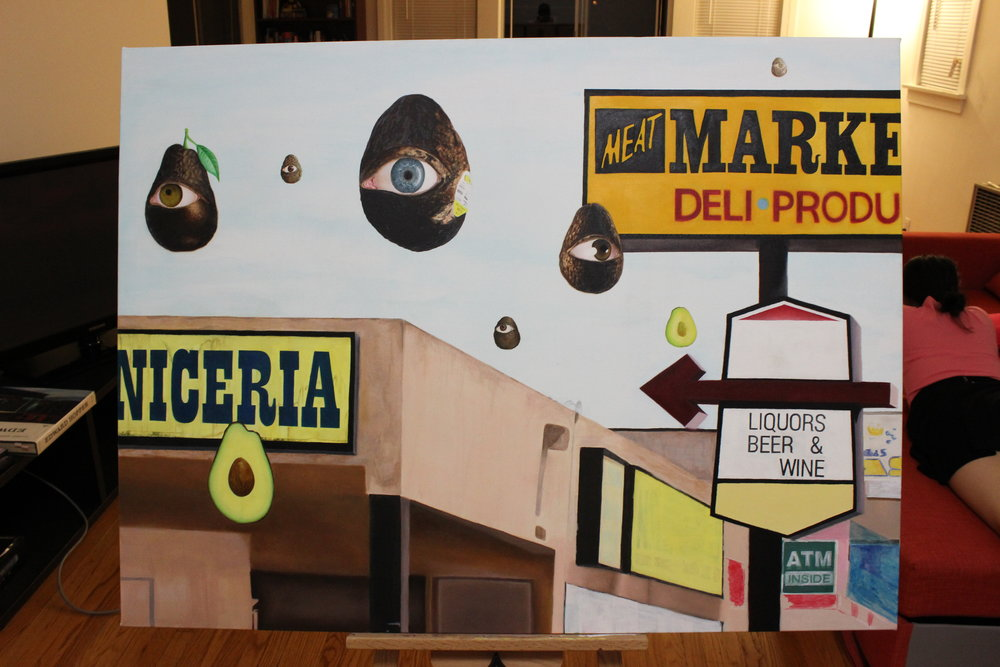 """La Vida Onirica"" 3' x 4' Acrylic and Oil on Canvas. Work in progress."