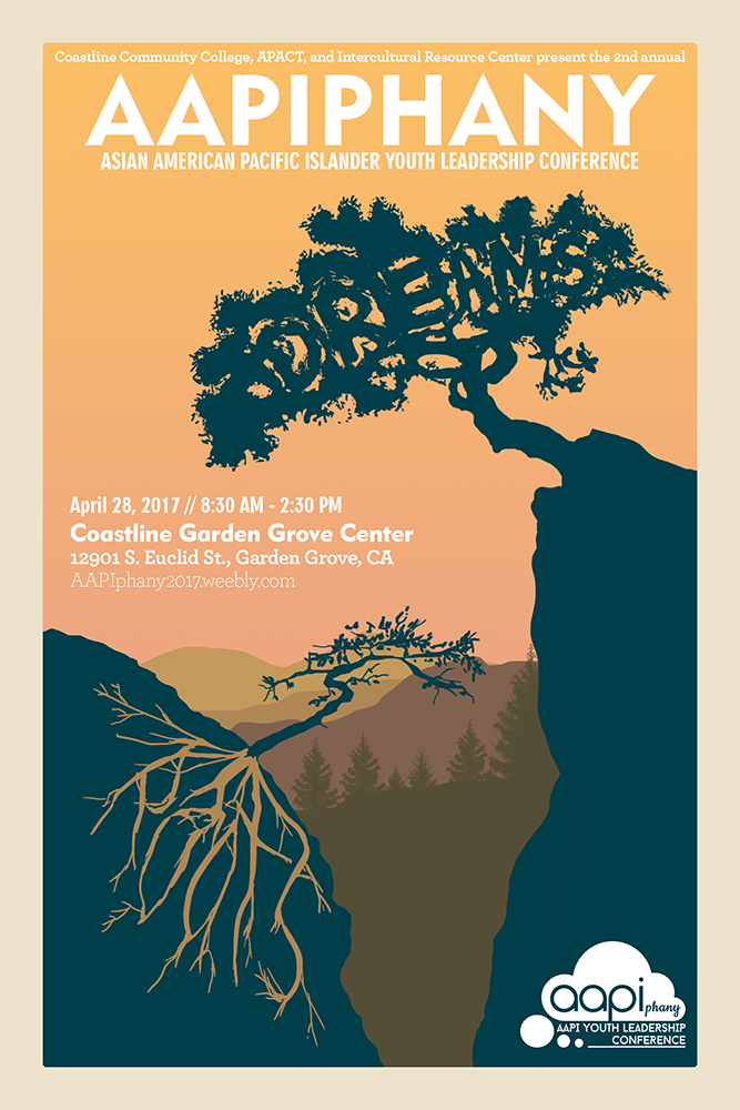 """AAPIphany Event Poster - Unused Concept (Valley)   Poster concept in 2:3 ratio for the April 28, 2017 AAPIphany Conference """"Roots:Dreams"""".    2017"""