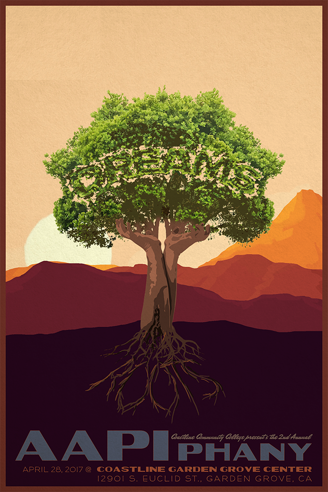 "AAPIphany Event Poster - Unused Concept (Tree)   Poster concept in 2:3 ratio for the April 28, 2017 AAPIphany Conference ""Roots:Dreams"". This design was re-purposed as the design for event shirts.  2017"