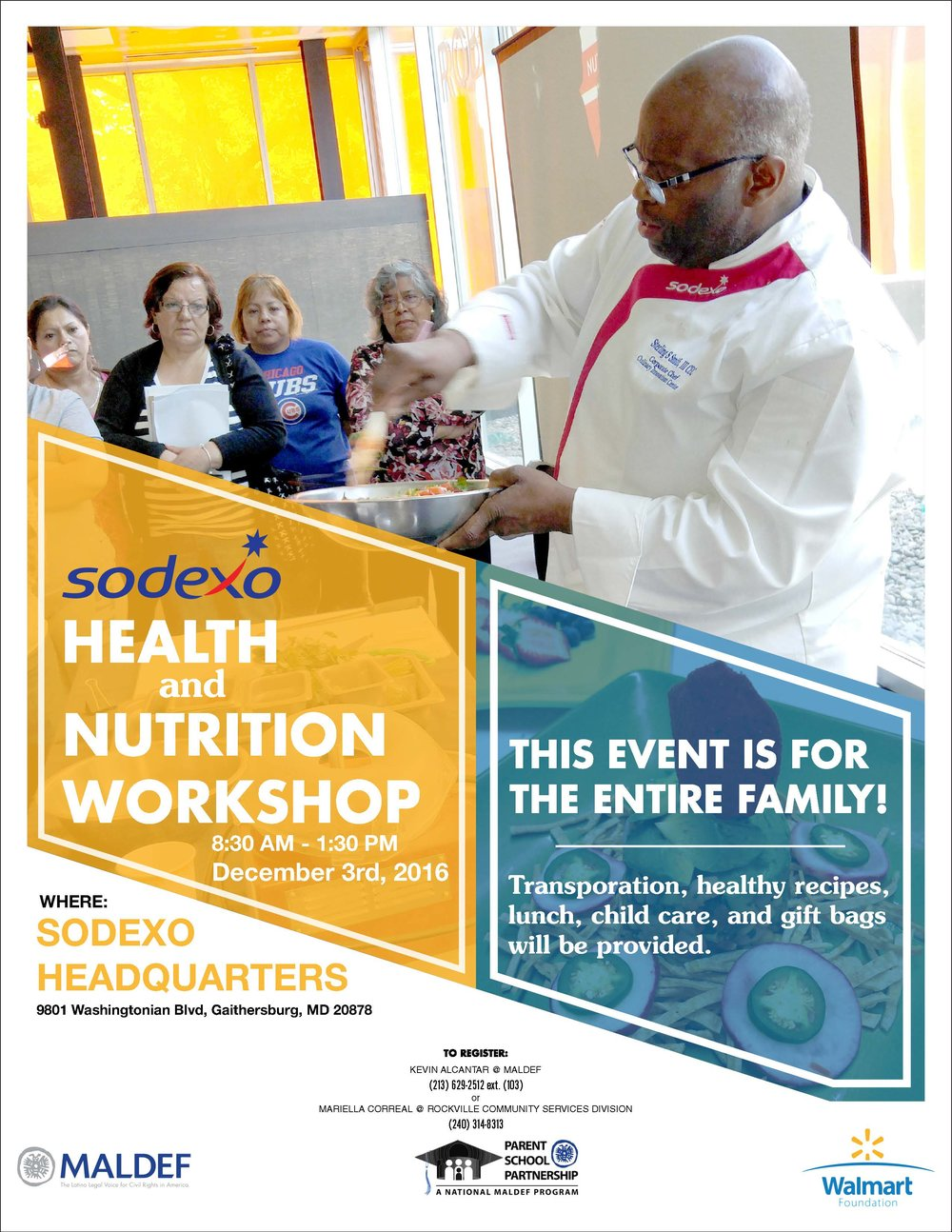 Parent School Partnership - Sodexo Nutrition Workshop Flyer   Redesigned PSP program flyer template for nationwide Sodexo Nutrition Workshop event.  2016