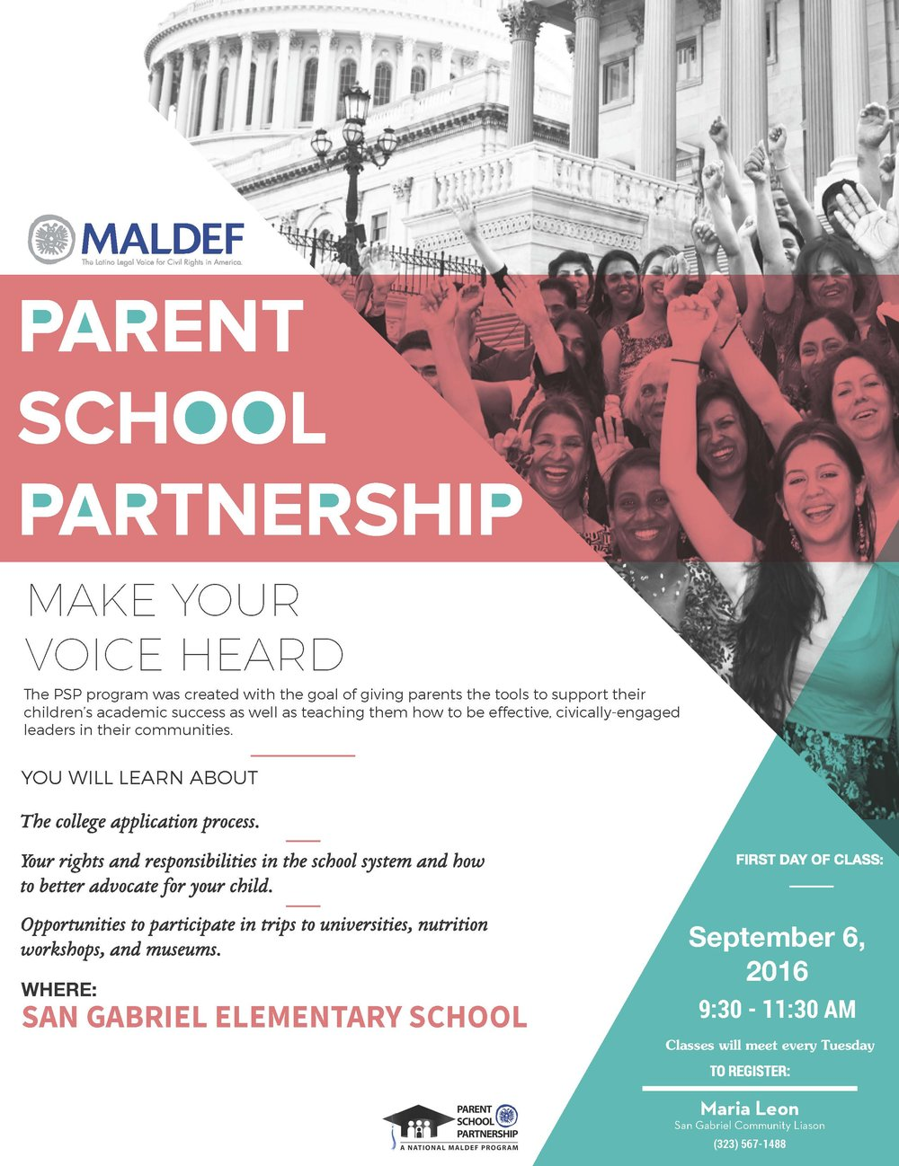 Parent School Partnership - PSP Program Classes Flyer   Redesigned flyer template for PSP Program's classes.  2016