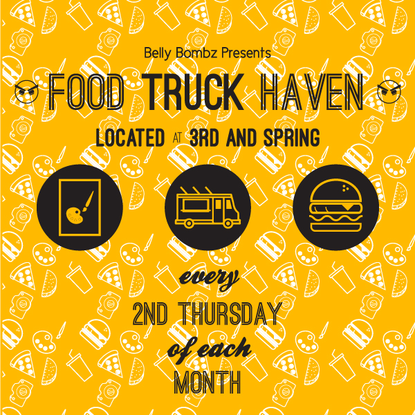"Downtown LA ArtWalk - Food Truck Haven Social Media   Developed to advertise LA ArtWalk's partnership with Belly Bombz and to promote the ""Food Truck Haven"" food truck fesitval. Graphic used in  Downtown LA ArtWalk's Instagram .  2015"
