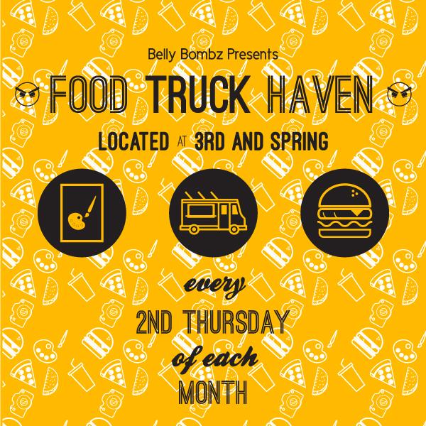 "Downtown LA ArtWalk - Food Truck Haven Social Media   Developed to advertise LA ArtWalk's partnership with Belly Bombz and to promote the ""Food Truck Haven"" food truck fesitval. Graphic used in  Downtown LA ArtWalk's Instagram .  2015"