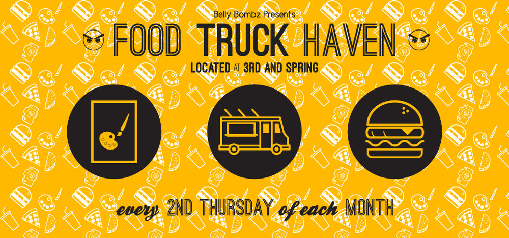 "Downtown LA ArtWalk - Food Truck Haven Home Page Banner   Developed to advertise LA ArtWalk's partnership with Belly Bombz and to promote the ""Food Truck Haven"" food truck festival. Graphic used in  downtownartwalk.org .  2015"