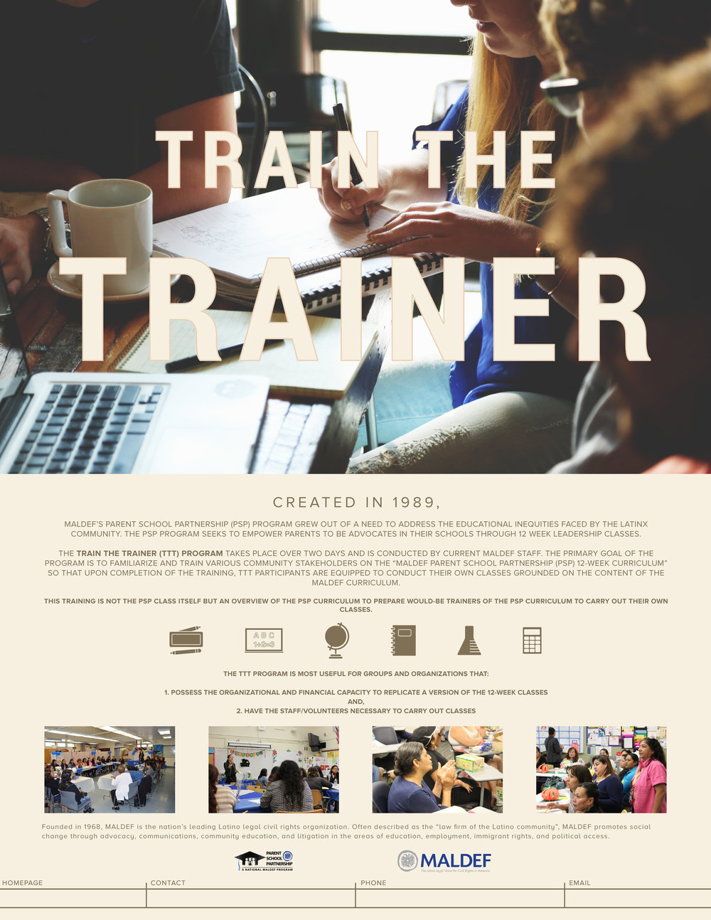 Parent School Partnership - Train the Trainer Workshop Flyer   PSP program flyer template for Train the Trainer workshop.  2017