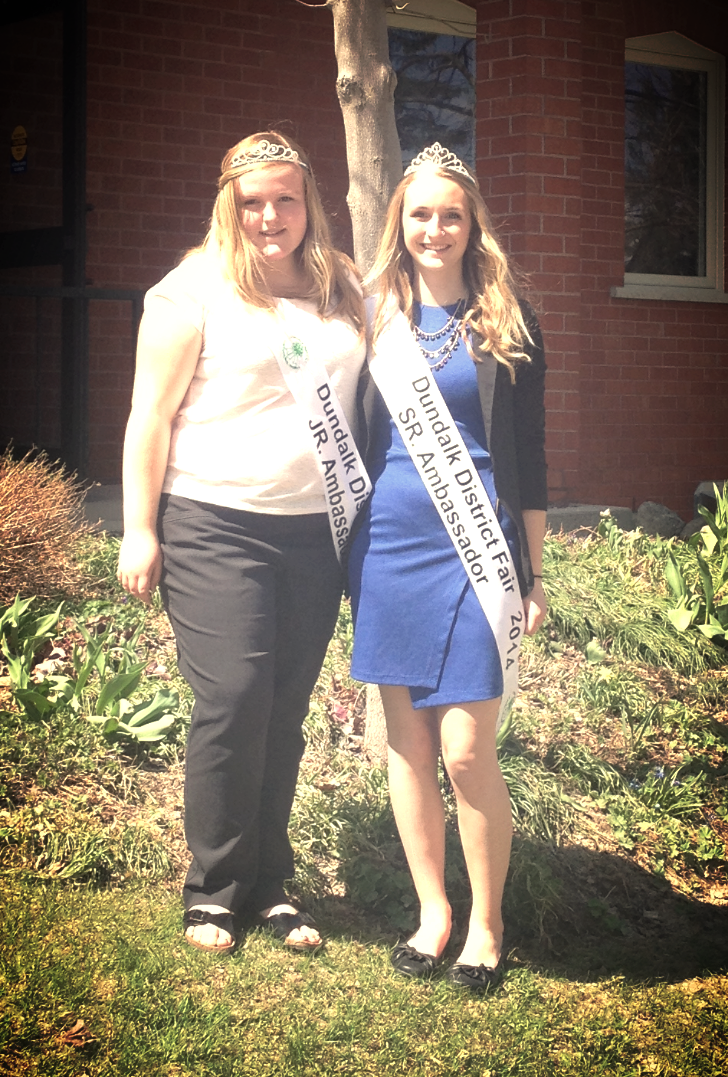 Our 2014 Junior Ambassador Megan Sherson and 2014 Senior Ambassador Jessie Hooker at the OAAS District 10 Spring Meeting in Markdale, ON