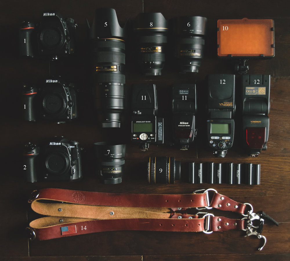 """Overview of most of my """"essentials"""" for a wedding."""
