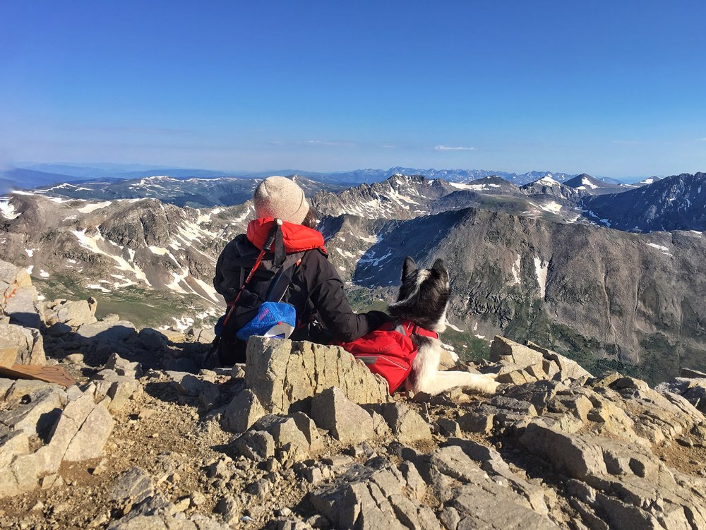 Mak and I taking a break atop Mount Lincoln (peak 2 of 3).