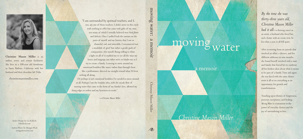 Dust jacket design for  Moving Water  by Christine Mason Miller.