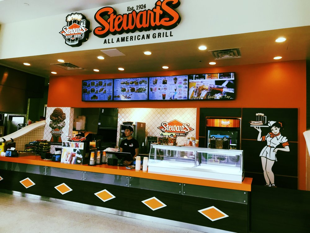 Now Open in the  Menlo Park Mall  Food Court in Edison, NJ as of August 2nd. Congratulations Team Stewart's on a very successful opening. Check out our new menu layout and enjoy a frosty float or shake with your meal!