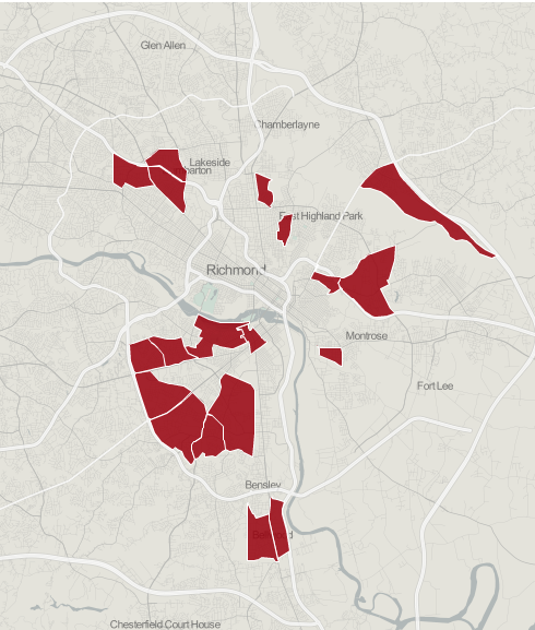 Bacon's Rebellion.  Map showing Richmond's urban food deserts by census tract (2012).