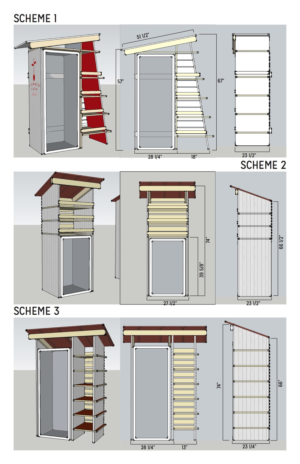 Through Storefront's Design Session, Brennan devised a scheme to create shelves around the coolers provided through the Corner Farm program.