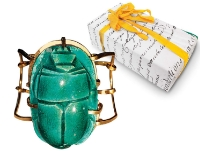 """Surprise your cousin who loves Egyptology with a bronze-and-ceramic handmade scarab cuff"""