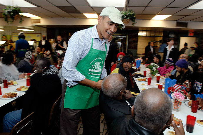 SOME attracts a host of well-known volunteers including President Barack Obama, seen here on January 17, 2010.