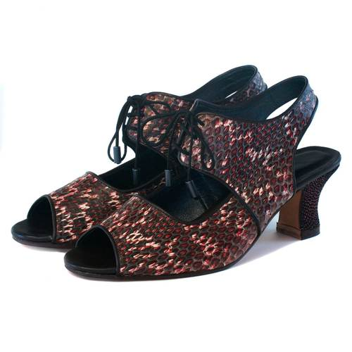 9e39bc83bac open toe lace up in red swirl snake — kokovenice.com