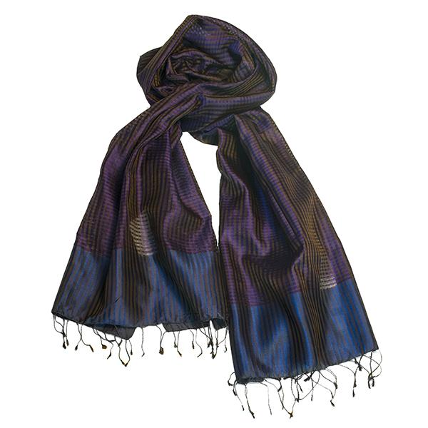 998649b3d0d90 Open weave silk scarf in dark purple with brown glow — kokovenice.com