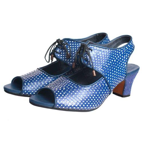 b03ef2c3a4b open toe lace up in blue ivory polkadot snake — kokovenice.com