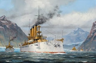 Great White Fleet in the Straits of Magellan by Patrick O'Brien.  Image courtesy Mystic Seaport