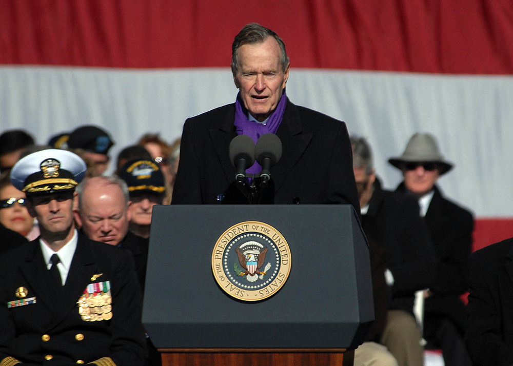 Wikimedia Commons Former President George H.W. Bush addresses delivers his remarks at the commissioning ceremony for the aircraft carrier USS George H.W. Bush (CVN 77)
