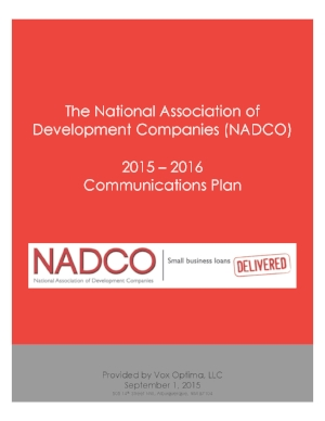 Vox Optima Communication Plan for the National Association of Development Companies