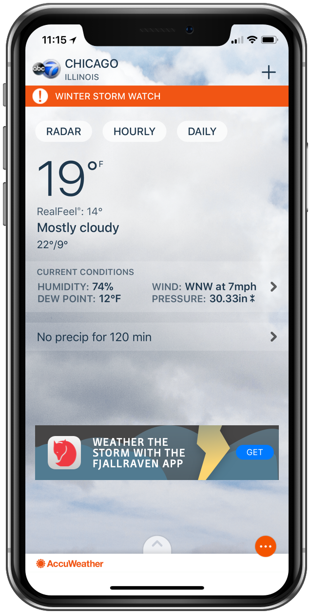 Accu Weather App Directs User To Download Fjallraven