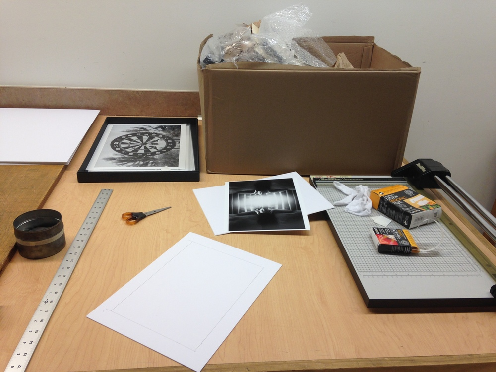 Beginning work to mat my photographs going into the Black and White Gallery at Frame of Mind in Ormond Beach, Florida.
