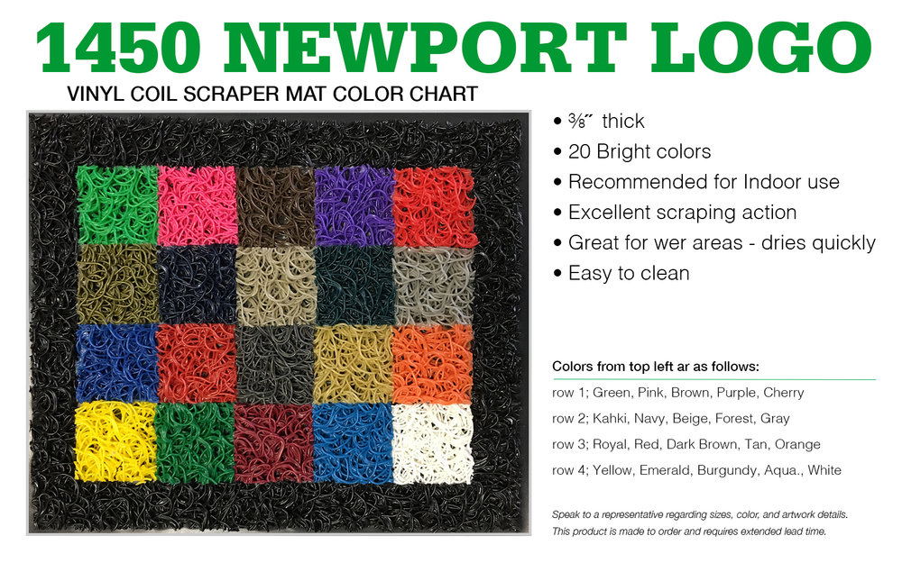 "Authorized Cactus Mat Representatives may CLICK HERE to order this #1450 Vinyl Coil Color Sample. All colors are bound together in a 10"" x 11"" mini, mat with factory bevel edge."