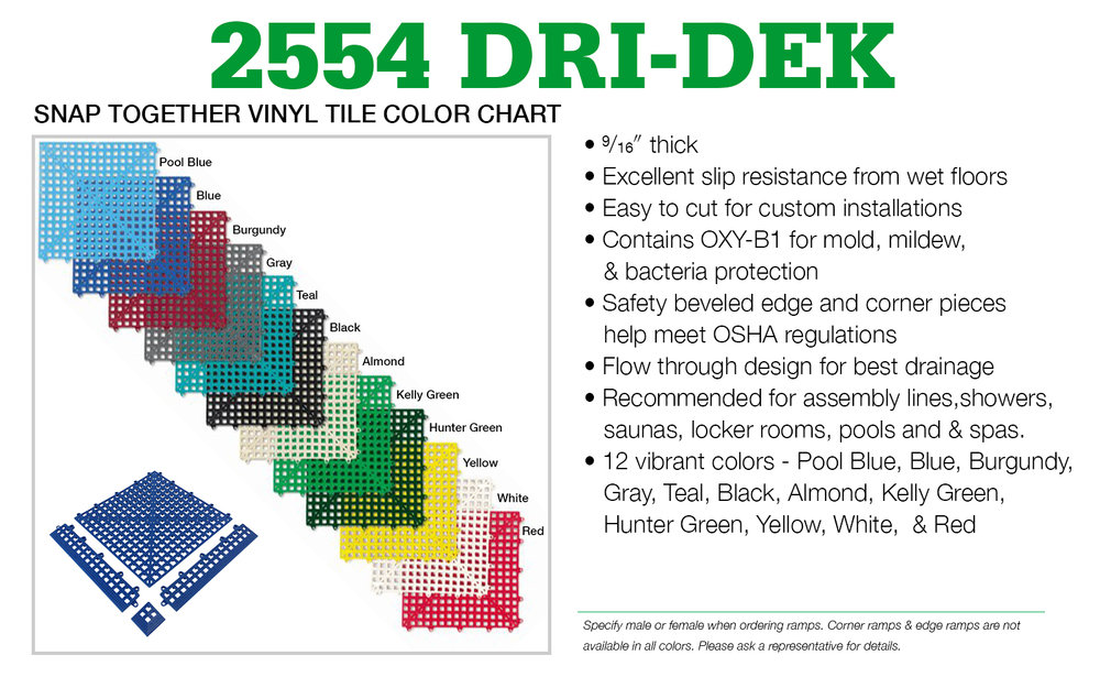"Authorized Cactus Mat Representatives may CLICK HERE to order a 3"" x 3"" sample of the #2554 Dri-Dek Interlocking ""Snap Together"" Vinyl Tile."