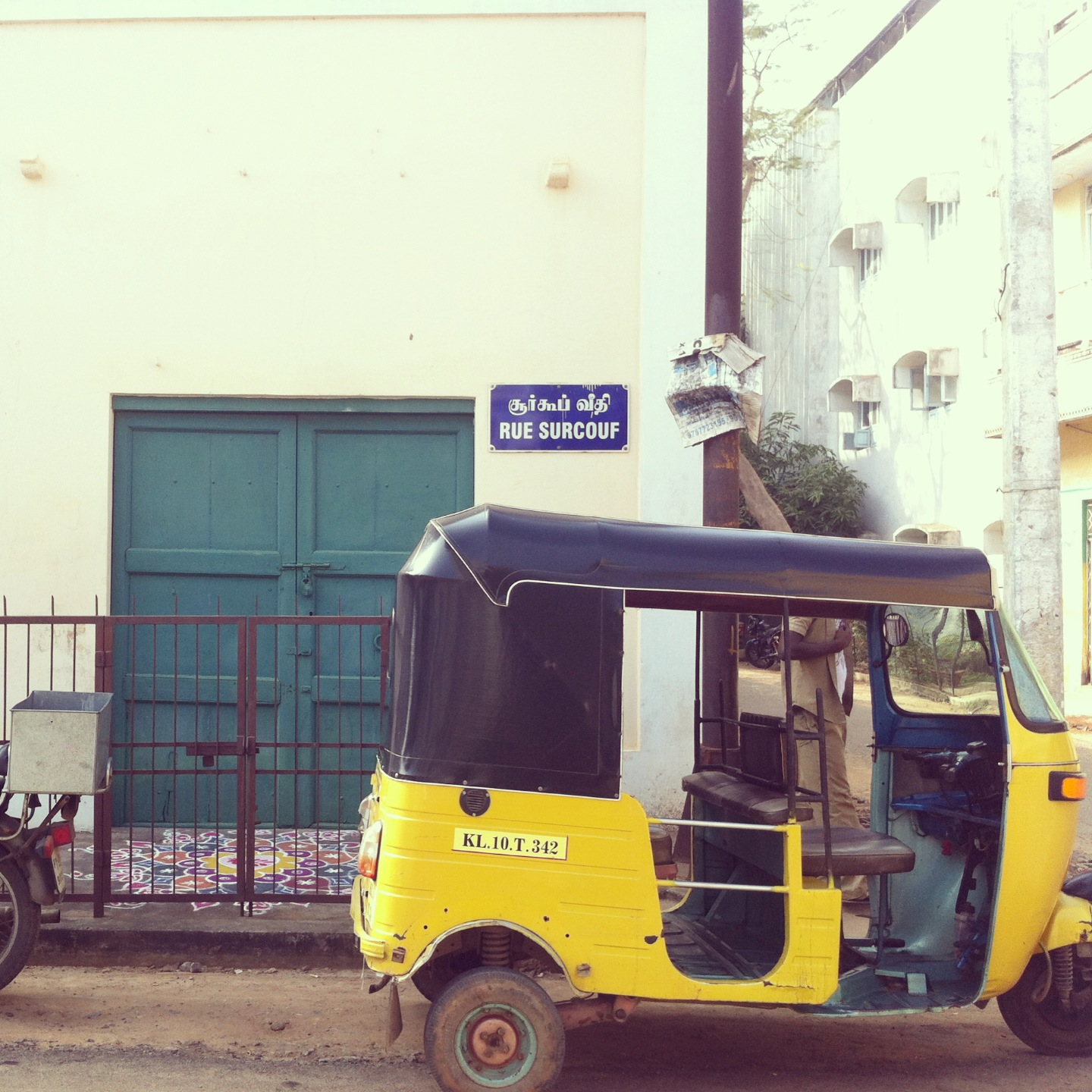 An auto in the white town of Pondicherry