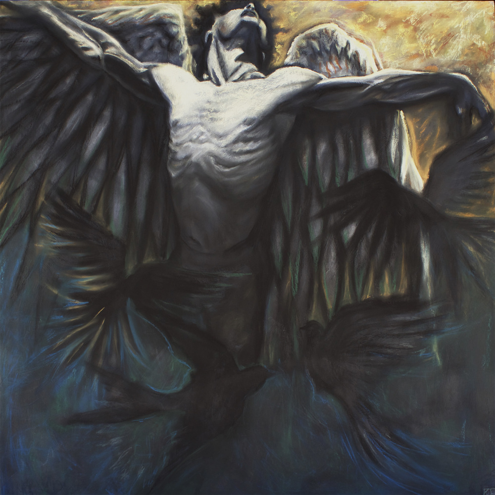 "Icarus, Charcoal and pastel on wood panel, 36x36"", SOLD"