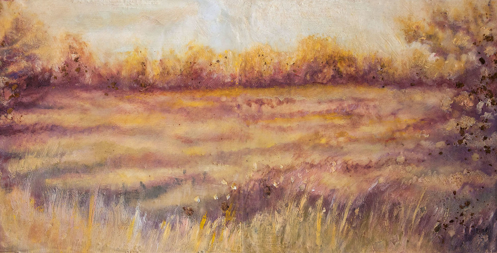 "Copper Meadow, Mixed media, 6x12"", SOLD"