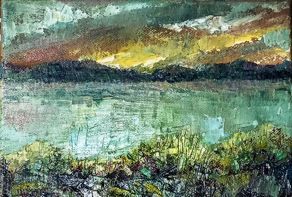 "Crowley Lake, 8x6"", Oil on canvas, SOLD *Print available"