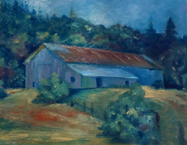 Barn in Big Sur, Oil on canvas, 11x14""