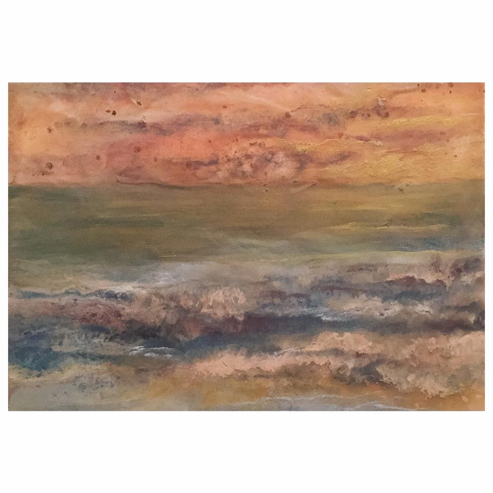 "Estuary, Encaustic and mica flakes on canvas, 11x14""canvas. Framed"