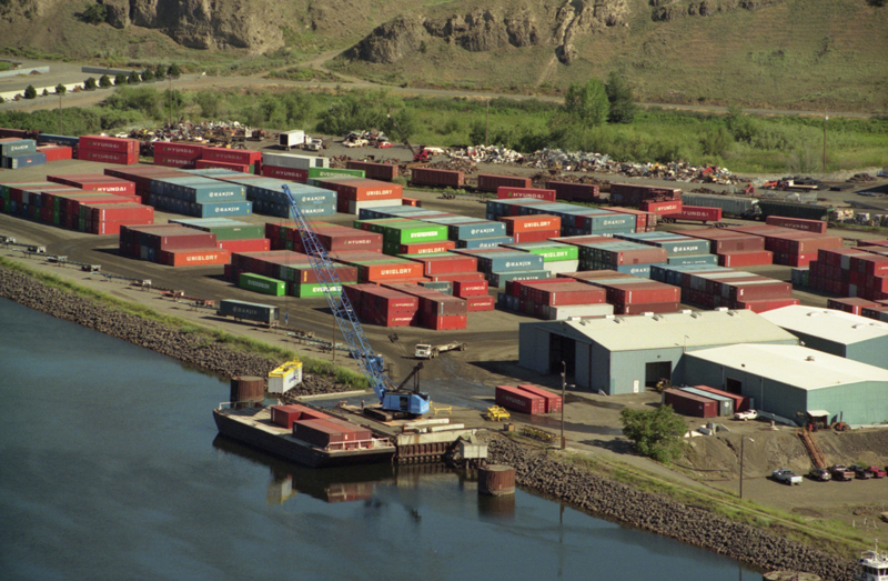Barging on the Lower Snake River is the result of a highly subsidized system of dams and ports. The Port of Lewiston, pictured, is a part of the system. (Photo by Port of Lewiston)