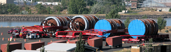 Four ConnocoPhillips megaloads shipped through the Lochsa/Clearwater Wild and Scenic River corridor in 2011. A federal ruling issued Feb. 7, 2013, states that the U.S. Forest Service and Federal Highway Administration have the authority to regulate such loads on U.S. Highway 12 in northern Idaho and acted unlawfully in determining they didn't.  (Photo by Kevin Lewis)