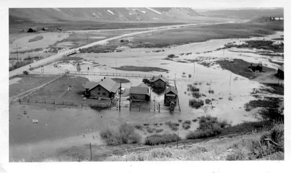 Flooding in Stanley on May 24, 1956, is considered to have been indicative of the 50-year flood. (Photo courtesy of the Sawtooth Interpretive and Historical Association)