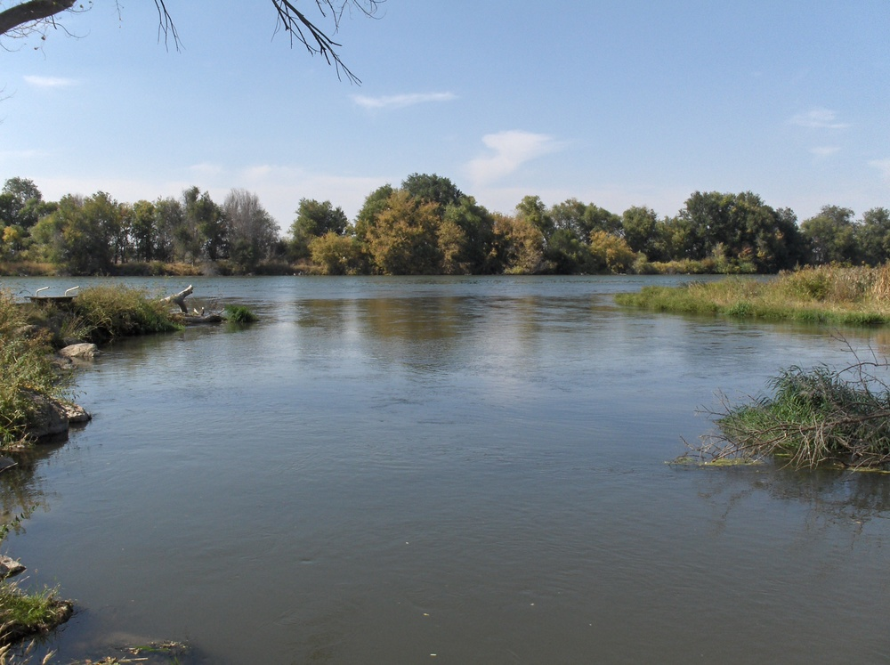 The Boise River flows quietly into the Snake River at Martin Landing.