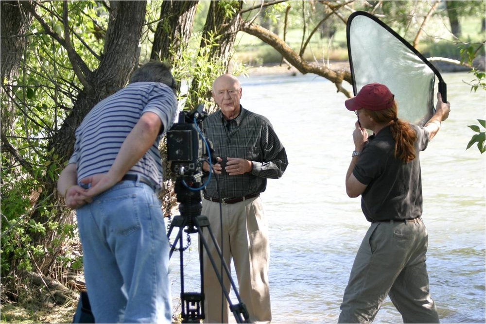 Gov. Cecil Andrus filming a spot for IRU about water conservation in the Treasure Valley. Photo from the IRU archives.