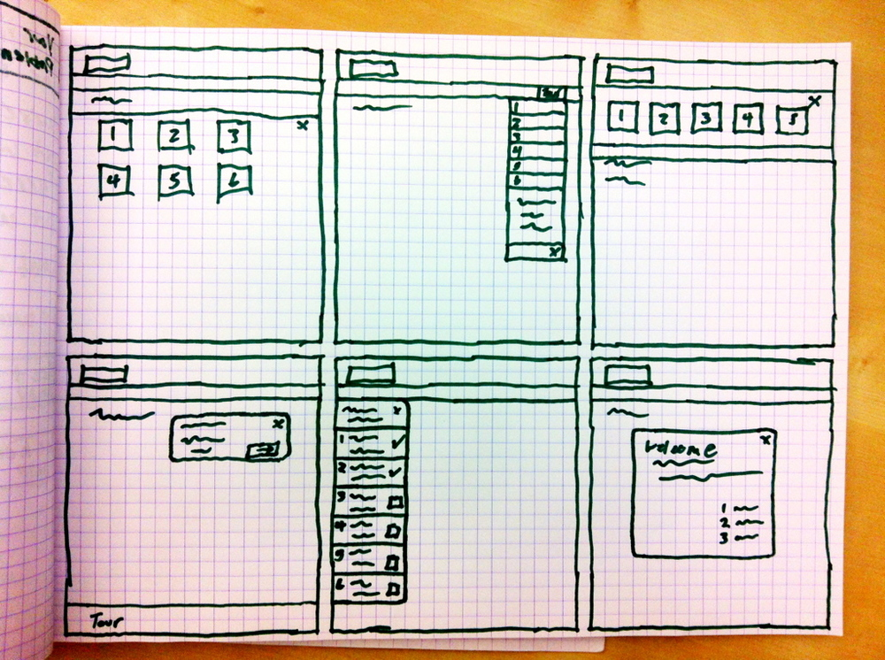 Sketches of potential new user onboarding UI.