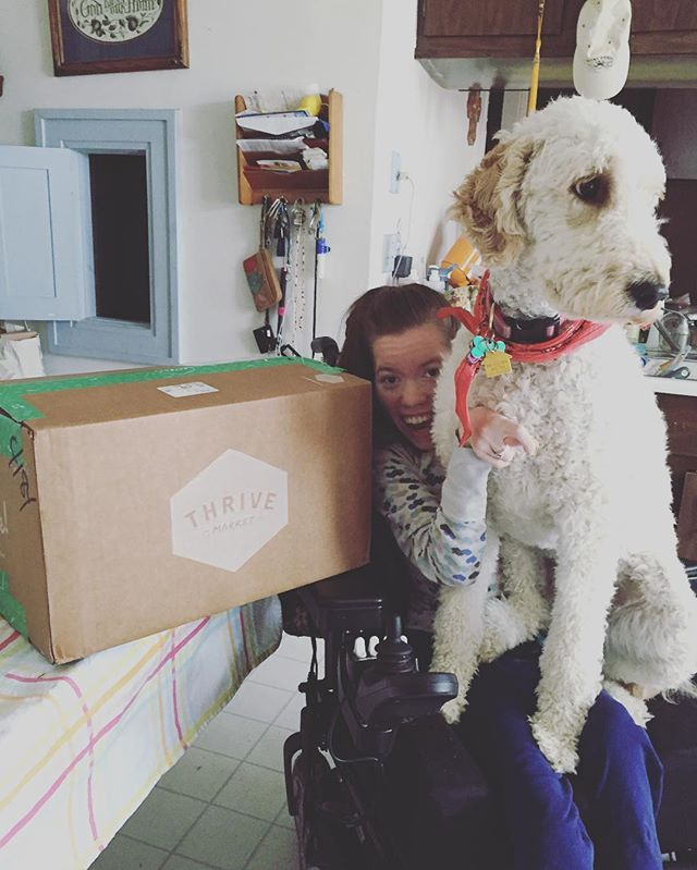 As a young #dogmom, I can't even begin to tell you how important @thrivemkt is! No more traveling multiple hours just to get doggie (or human, for that matter!) staples! Saves the Saatkamps time & money!  I love the fact that my packages get delivered to my door, too. Thank you @thrivemkt! #lainiethedoodle & I can't WAIT to see what treats are inside! #doodlelife #goorganic #easyorganiccooking #basics #staples #dogtreats.