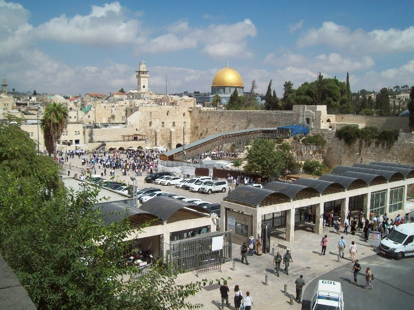 The Wailing Wall and the Dome of the Rock in Jerusalem.
